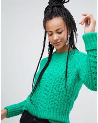 Esprit - Chunky Textured Jumper In Green - Lyst
