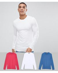 ASOS - 3 Pack Muscle Fit Long Sleeve Crew Neck T-shirt Save - Lyst
