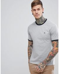 Original Penguin - Small Logo Slim Fit Raglan Ringer T-shirt In Grey Marl - Lyst