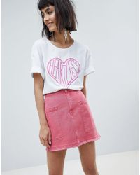 Pieces - Denim Skirt With Pockets - Lyst