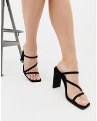 New Look - Square Toe Sandal In Black - Lyst