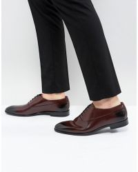 HUGO - Hugo Appeal Lace Up Leather Oxford Shoes In Burgundy - Lyst