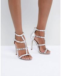 Missguided - Studded Strappy Gladiator Heeled Sandals - Lyst