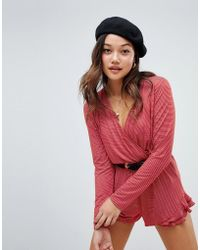 Honey Punch - Long Sleeved Striped Playsuit With Ruffle Hem - Lyst