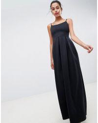 ASOS - Design Scuba Scoop Neck Maxi Prom Dress - Lyst