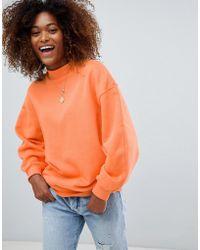 Bershka - High Neck Oversized Sweater In Fluro Peach - Lyst