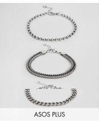 ASOS - Design Plus Mixed Chain Bracelet Pack In Burnished Silver - Lyst