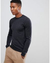 ASOS - Asos Muscle Fit Merino Wool Sweater In Gray - Lyst