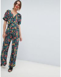 Mango - Deep V Floral Printed Jumpsuit In Multi - Lyst