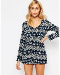 Madam Rage - Playsuit In Diamond Print - Multi - Lyst