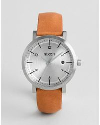 Nixon - A984 Rollo 38 Leather Watch In Tan - Lyst