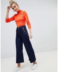 Warehouse - Button Detail Wide Leg Authentic Wash Jeans - Lyst