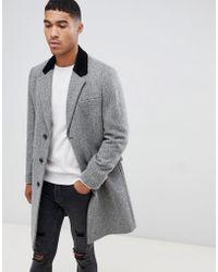 ASOS - Wool Mix Overcoat In Herringbone With Velvet Collar In Gray - Lyst