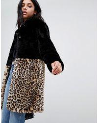 Barneys Originals - Leopard Print Colourblock Faux Fur Coat - Lyst