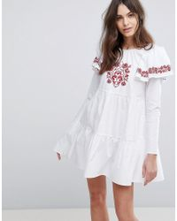 Fashion Union - Embroidered Smock Dress With Exaggerated Sleeves - Lyst