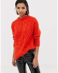 Mango - Cable Oversized Jumper In Orange - Lyst