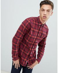 Lyle & Scott - Buttondown Windowpane Check Shirt In Burgundy - Lyst