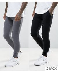 ASOS - Extreme Super Skinny Joggers In Black/charcoal Marl 2 Pack Save - Lyst