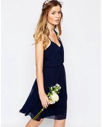 Vila - One Shoulder Sash Dress - Lyst