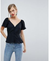 ASOS - Waisted Button Front Top - Lyst