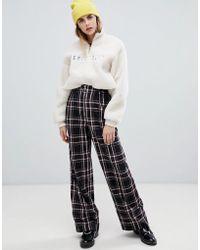 Bershka - Zip Top Wide Leg Check Print Trousers - Lyst