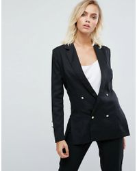 Fashion Union - Double Breasted Blazer With Pearl Buttons - Lyst