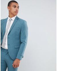 SELECTED - Skinny Suit Jacket In Green With Stretch - Lyst