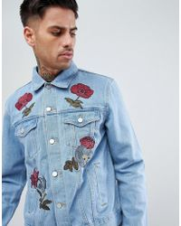 Boohoo - Denim Jacket With Floral Embroidery In Light Wash - Lyst