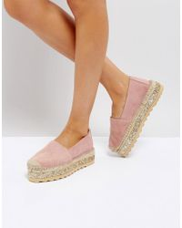 Pieces - Leather Espadrilles With Glitter Contrast Sole - Lyst