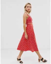 0e689e55f5 Monki - Co-ord Buttoned Floral Print Midi Skirt In Red - Lyst