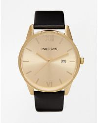 Unknown - Black Leather Strap Watch With Gold Dial - Lyst