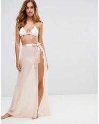Lipsy - Tie Side Beach Skirt With Split - Lyst