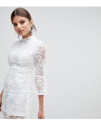 Boohoo - Embroidered Mesh Tiered Lace Dress - Lyst