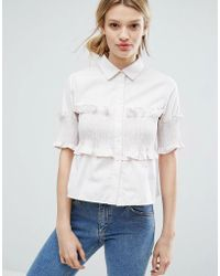 Lost Ink - Short Sleeve Shirt With Frill Details - Lyst