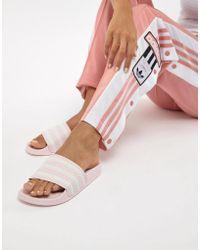 adidas Originals - Adilette Slider Sandals In Pink - Lyst