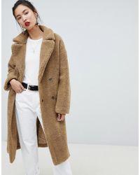 NA-KD - Manteau en fausse fourrure style peluche avec gros col - Lyst