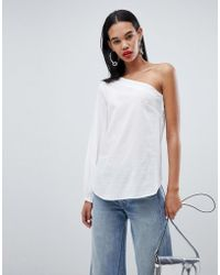 Weekday - One Shoulder Shirt With Drawstring Detail In White - Lyst