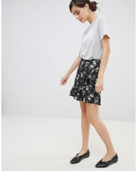 45287c89e2dd Oasis - Floral Print Frill Front Mini Skirt - Lyst