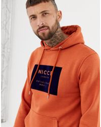 Nicce London - Nicce Hoodie In Orange With Navy Velour Box Logo - Lyst
