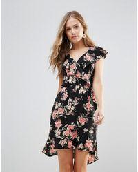 Oh My Love - Floral Frill Detail Pephem Dress - Lyst