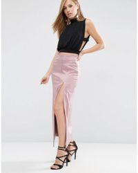 ASOS | Premium Bonded Satin Maxi Skirt | Lyst