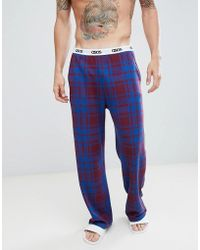 ASOS - Design Straight Pyjama Bottoms In Check With Branded Waistband - Lyst