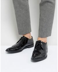 Frank Wright - Brogue Derby Shoes In Patent Leather - Lyst
