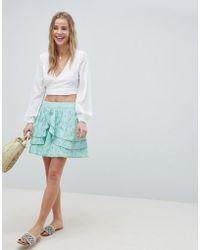 ASOS - Mini Skater Skirt In Heart Broderie With Frills - Lyst