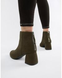 Pieces - Faux Suede Sculpted Heel Boot - Lyst