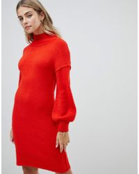 Fashion Union - Knitted Dress With Balloon Sleeves - Lyst