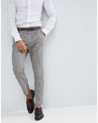 Stradivarius - Prince Of Wales Check Chino In Grey - Lyst