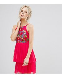 Frock and Frill - Embroidered Top Mini Skater Dress With Tulle Tiered Skirt - Lyst