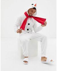 ASOS - Christmas Snowman Onesie - Lyst