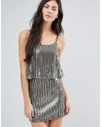 Endless Rose - Plisse Metallic Dress With Overlay - Lyst